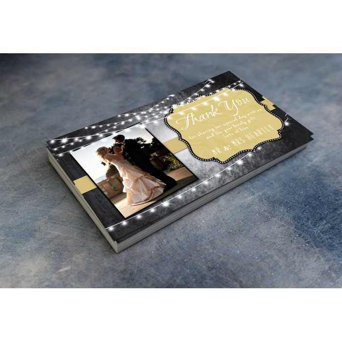 Wedding Thank You Cards & Envelopes - Black White and Gold
