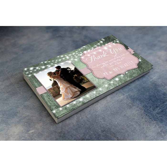 Wedding Thank You Cards & Envelopes - Dusty Rose and Green