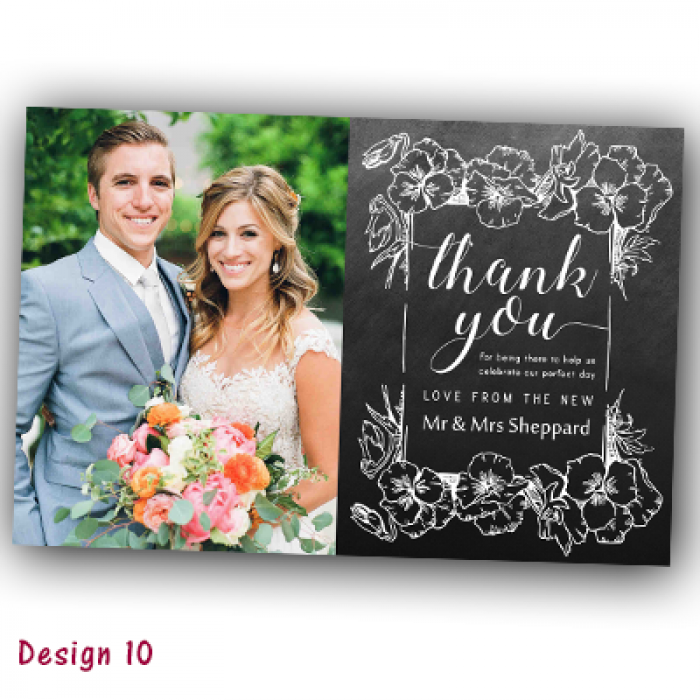 Wedding Thank You Cards & Envelopes - Design No 10