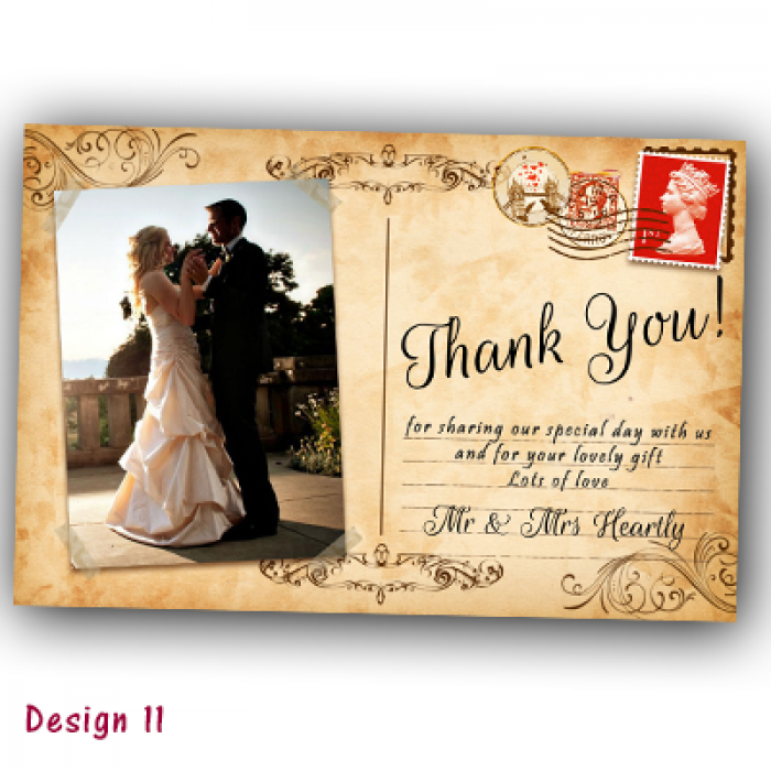Wedding Thank You Cards & Envelopes - Design No 11
