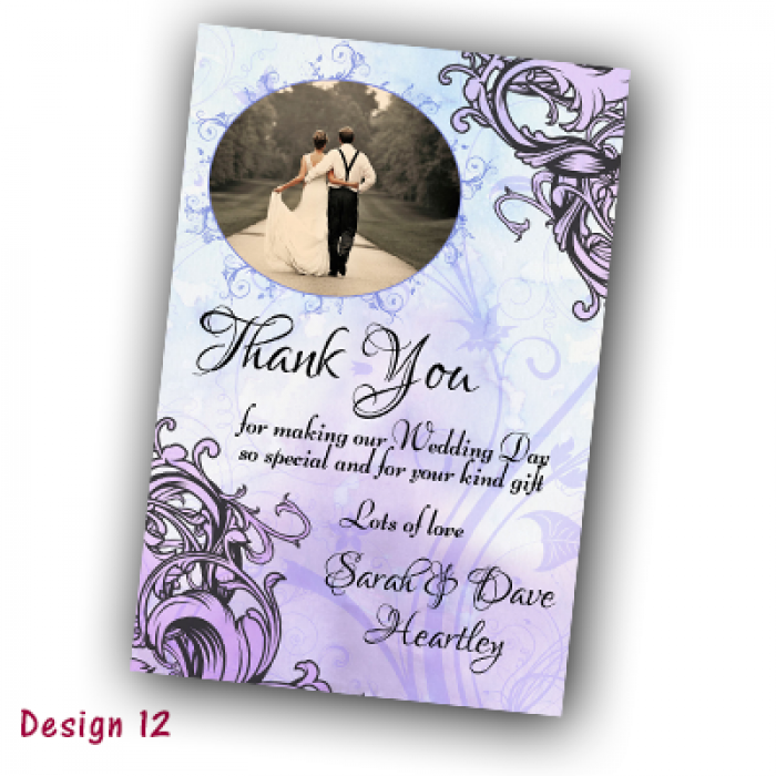 Wedding Thank You Cards & Envelopes - Design No 12