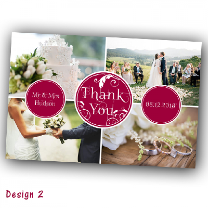 Wedding Thank You Cards & Envelopes - Design No 2