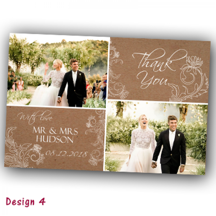 Wedding Thank You Cards & Envelopes - Design No 4