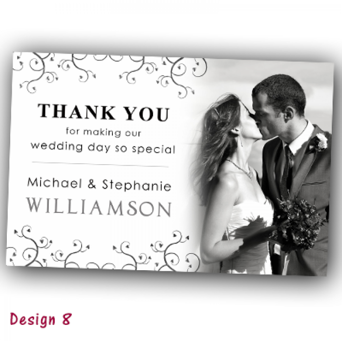 Wedding Thank You Cards & Envelopes - Design No 8