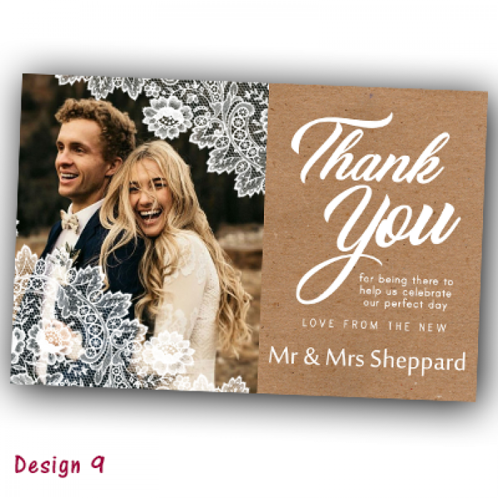 Wedding Thank You Cards & Envelopes - Design No 9