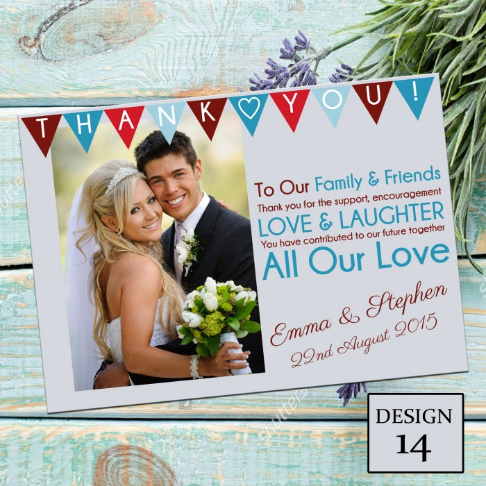 Wedding Thank You Cards & Envelopes - Design No 14