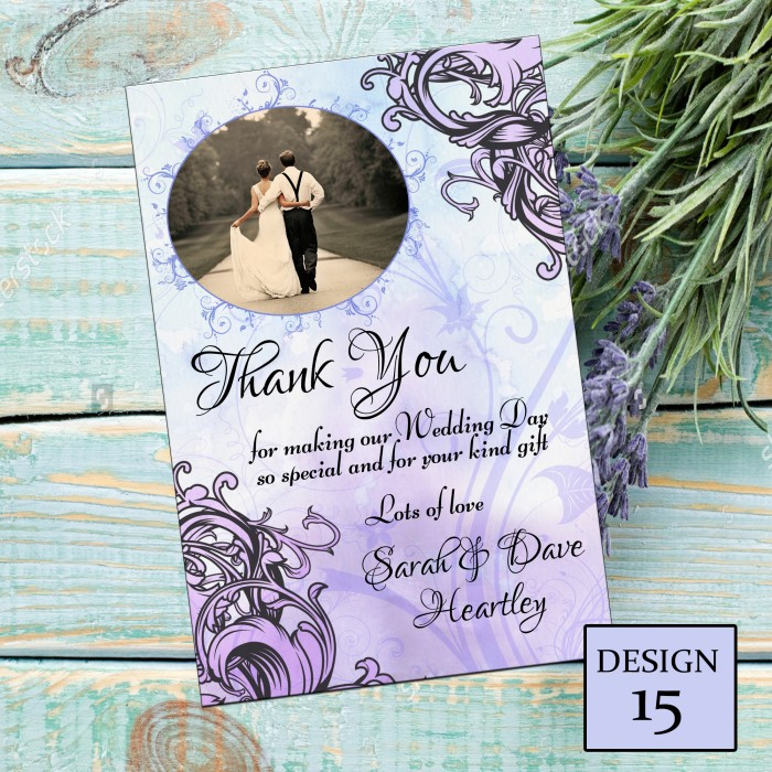 Wedding Thank You Cards & Envelopes - Design No 15