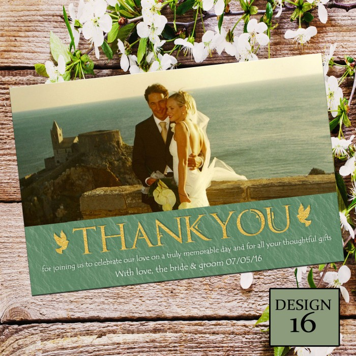 Wedding Thank You Cards & Envelopes - Design No 16