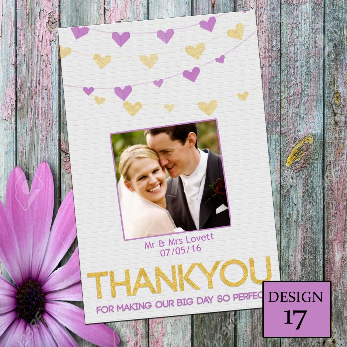 Wedding Thank You Cards & Envelopes - Design No 17