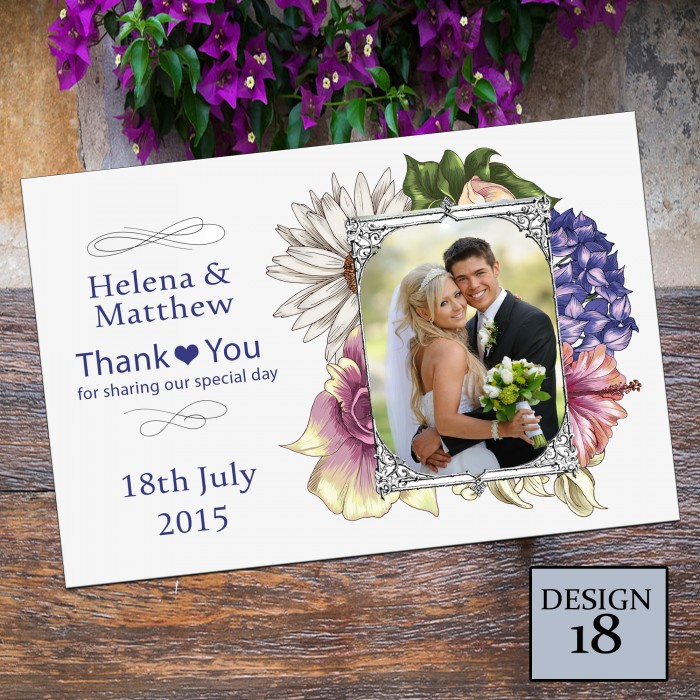 Wedding Thank You Cards & Envelopes - Design No 18