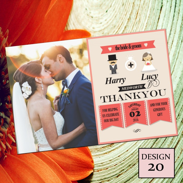 Wedding Thank You Cards & Envelopes - Design No 20