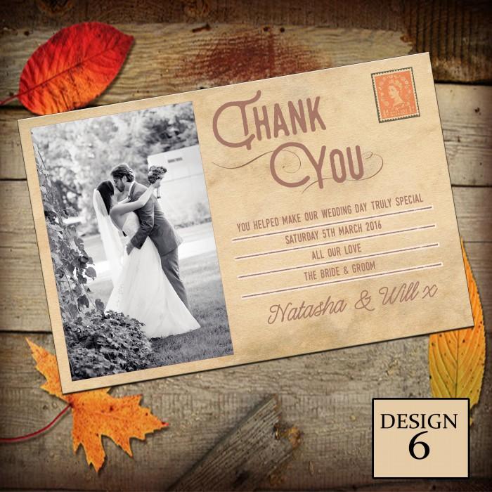 Wedding Thank You Cards & Envelopes - Design No 6