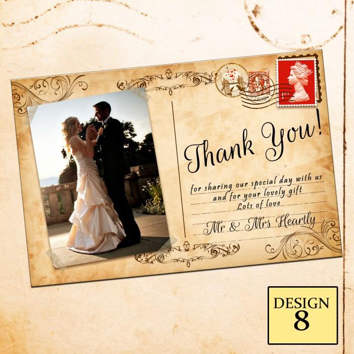 Wedding Thank You Cards & Envelopes - Design No 8