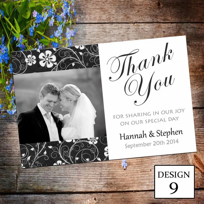 Wedding Thank You Cards & Envelopes - Design No 9