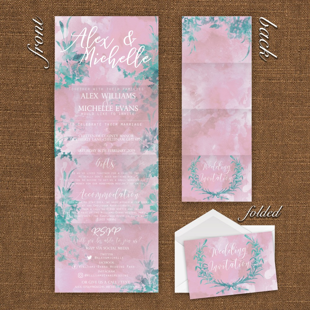 Wedding Concertina Folding Invitations - Dusty Rose and Greenery