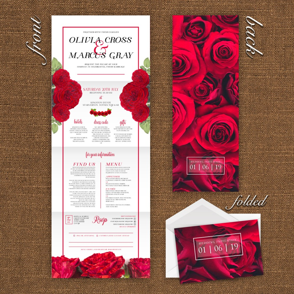 Wedding Concertina Folding Invitations - Modern Rose