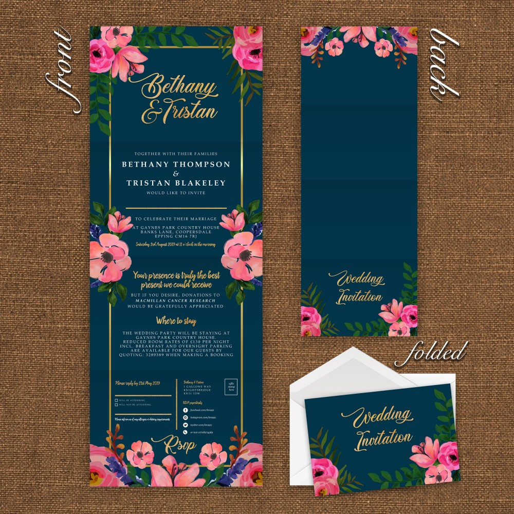 Wedding Concertina Folding Invitations - Navy Floral