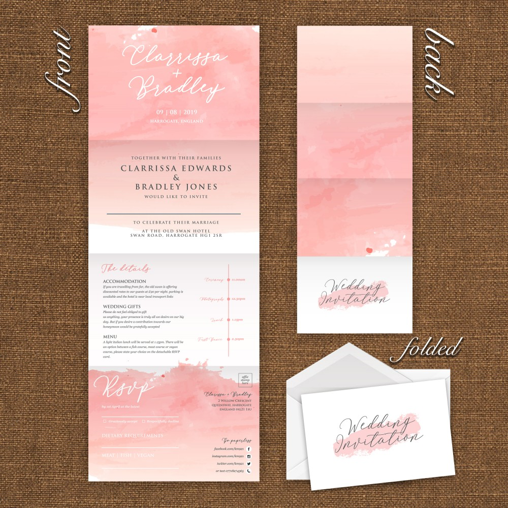 Wedding Concertina Folding Invitations - Pink Watercolour