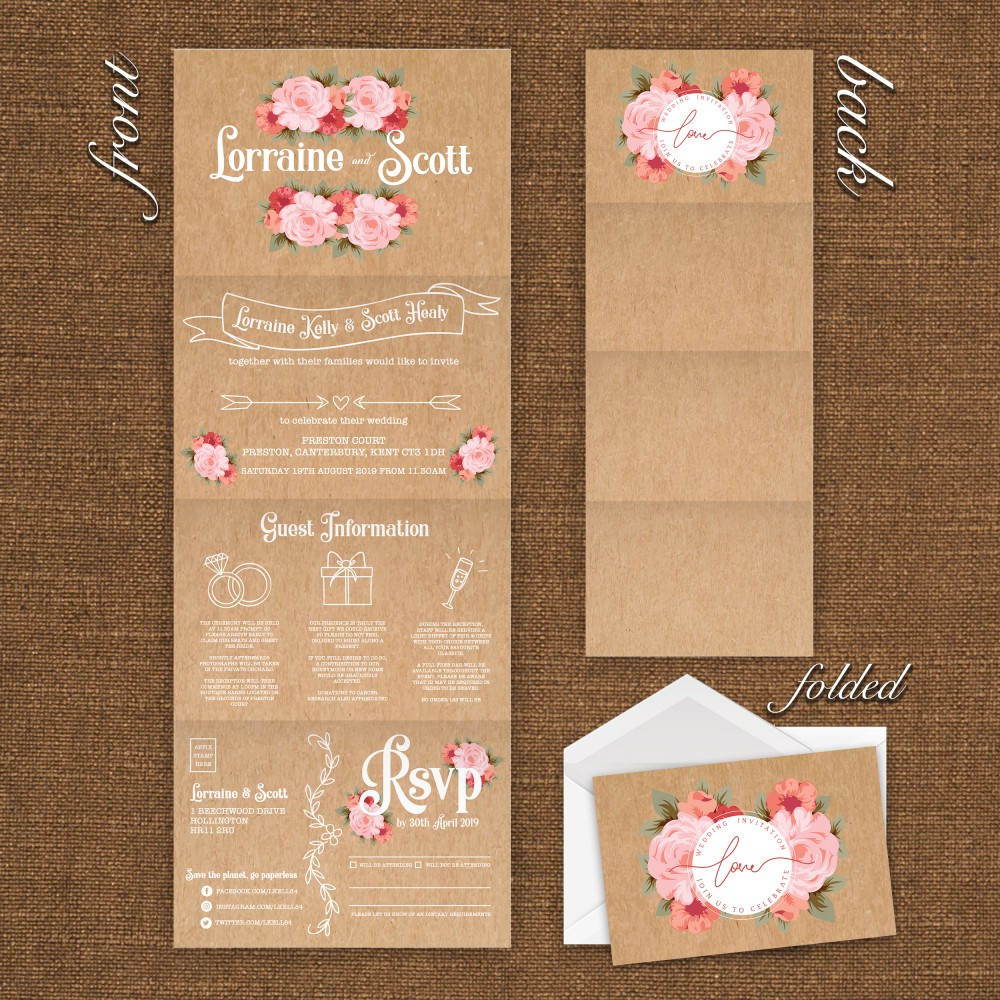 Wedding Concertina Folding Invitations - Rustic Rose