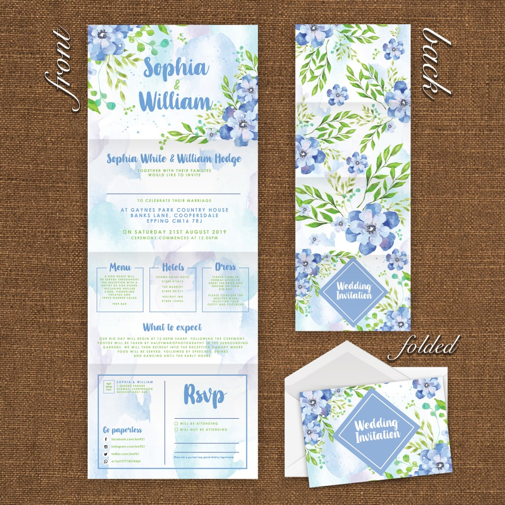 Wedding Concertina Folding Invitations - Bluebell Watercolour