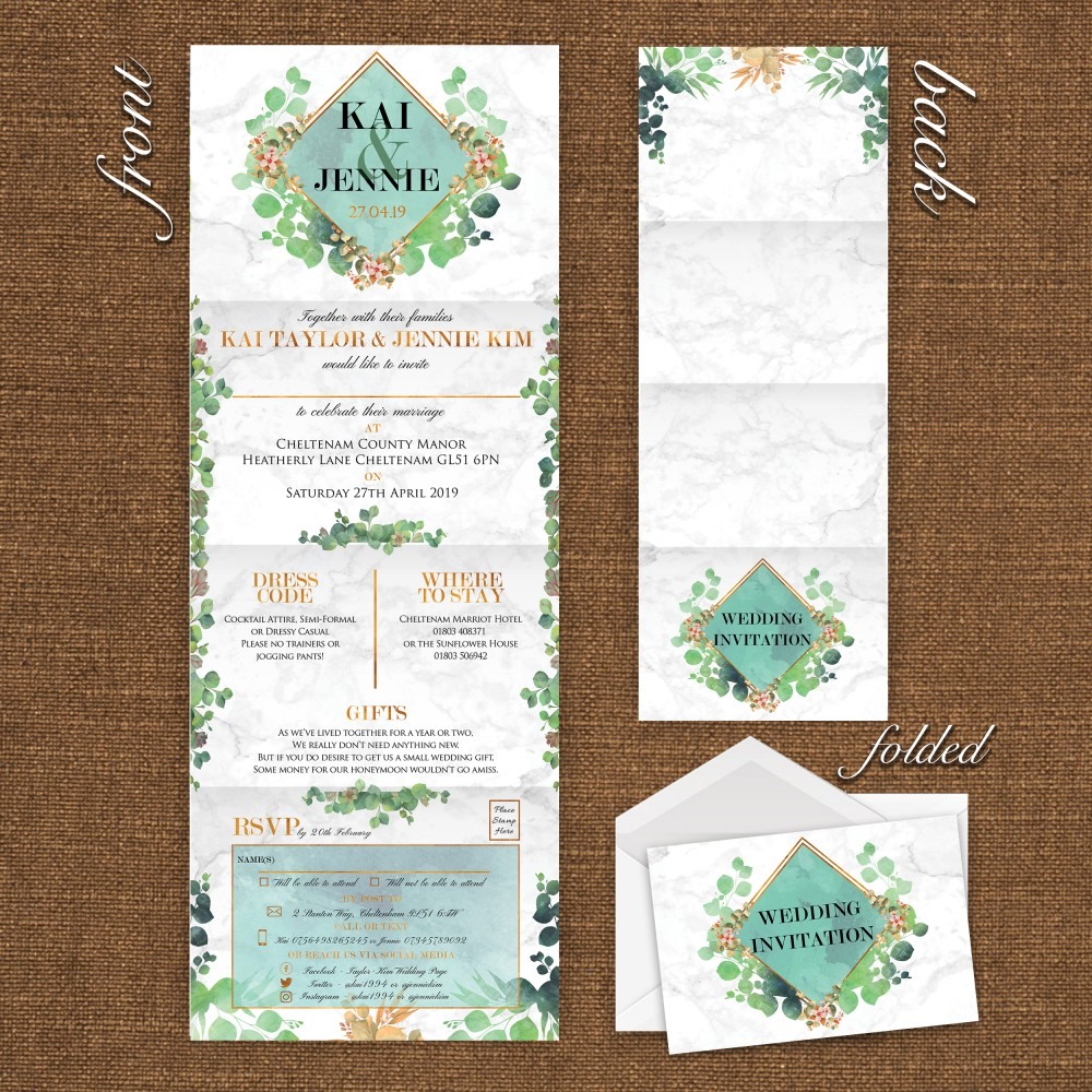 Wedding Concertina Folding Invitations - Marble Eucalyptus