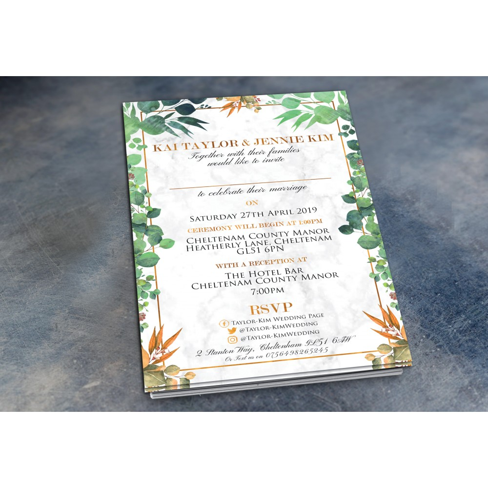 Wedding Daytime / Evening Invitations - Marble Eucalyptus