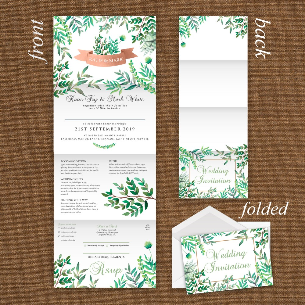 Wedding Concertina Folding Invitations - Botanical Theme
