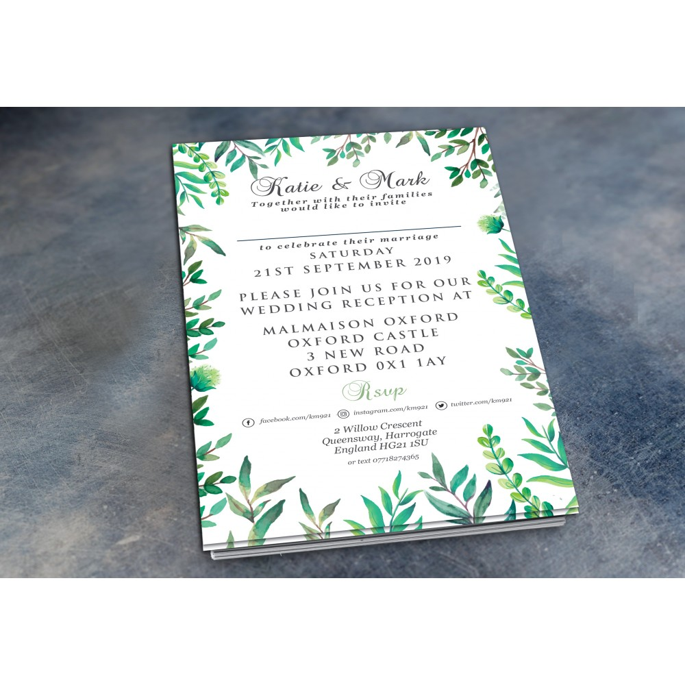 Wedding Daytime / Evening Invitations - Botanical Theme