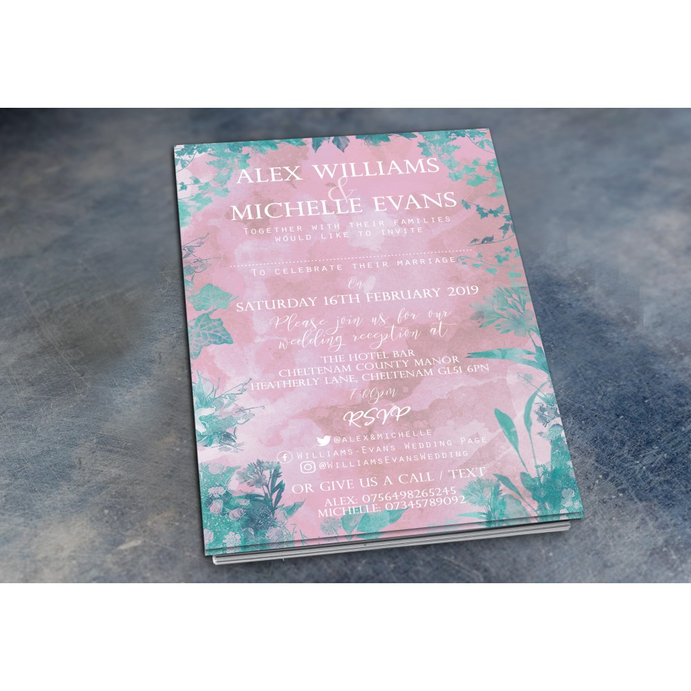 Wedding Daytime / Evening Invitations - Dusty Rose and Greenery
