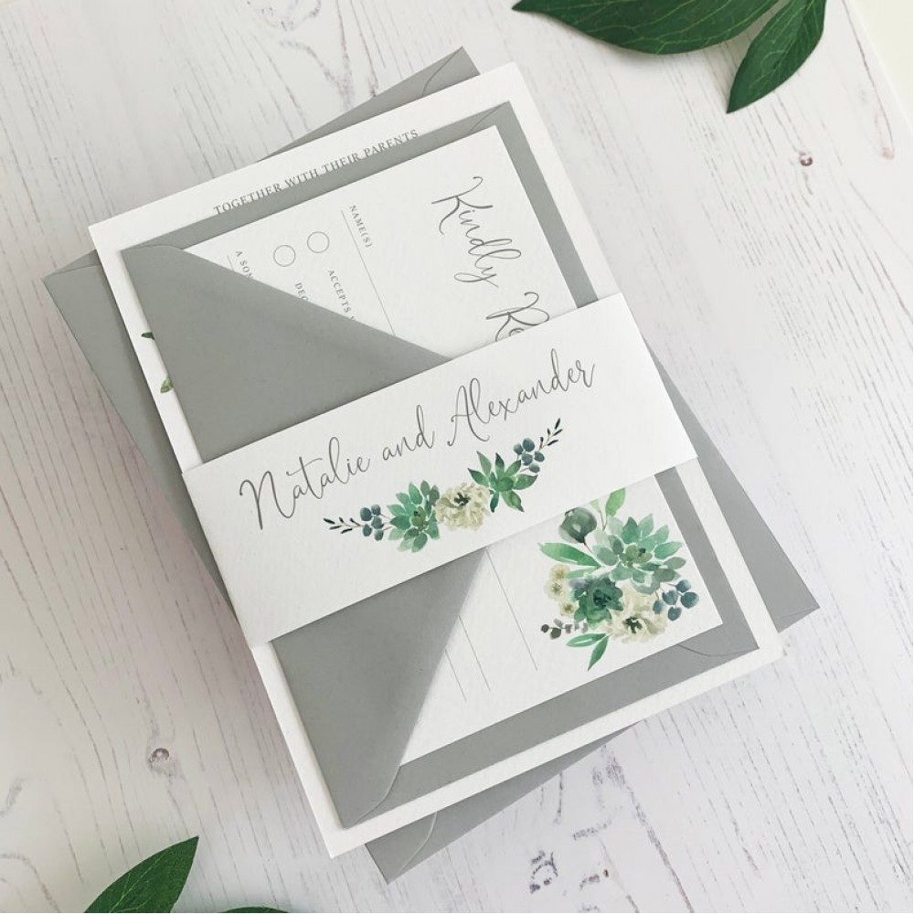 Wedding Invitation - Green Rose Garden Invitations with RSVP Belly Band Suite