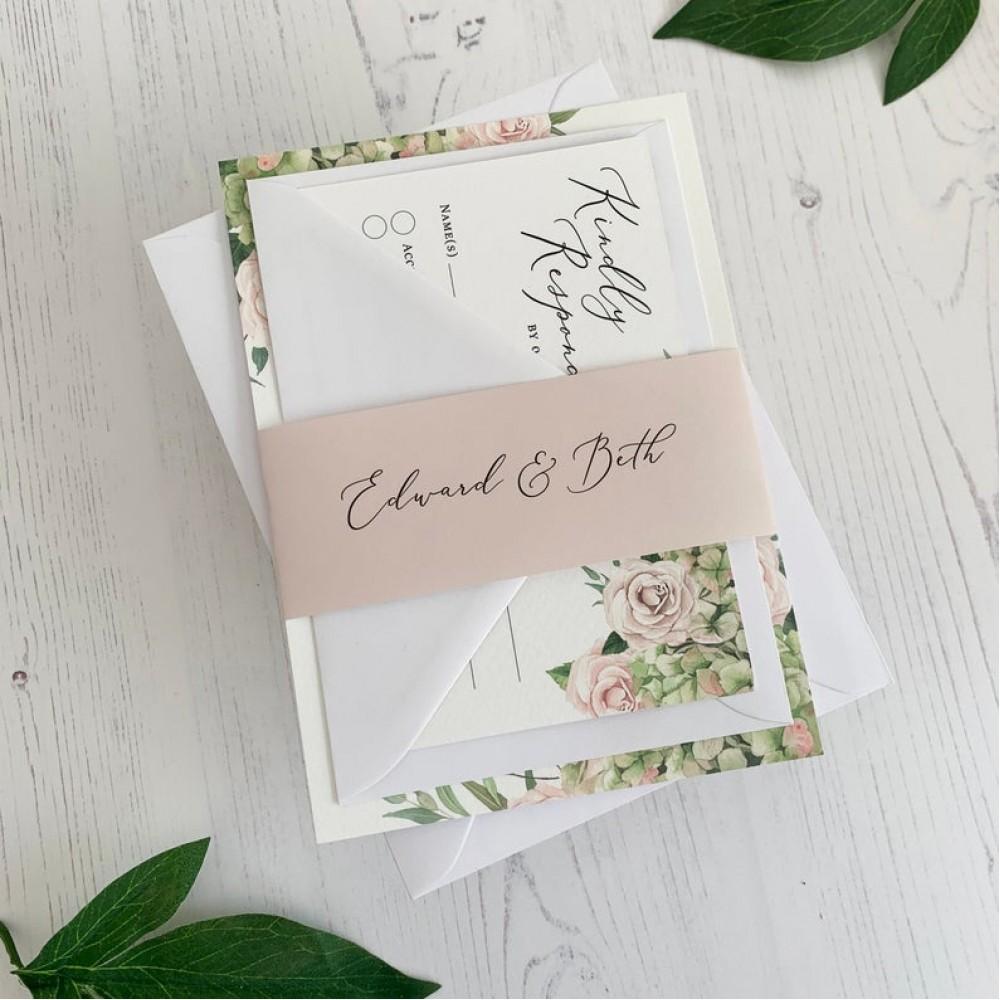 Floral Wedding Invitation - Green & Blush Pink