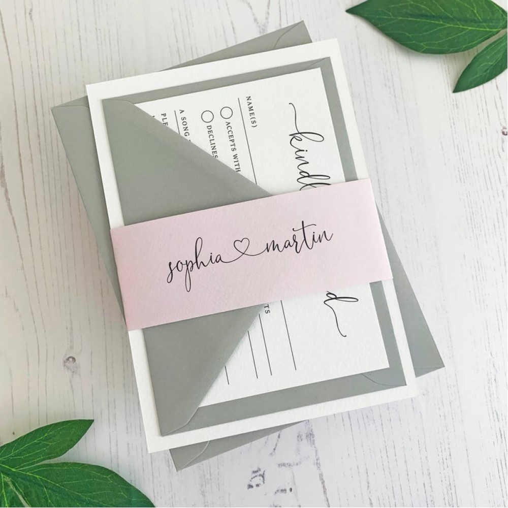 Heart Wedding Invitation Set with RSVP and belly band