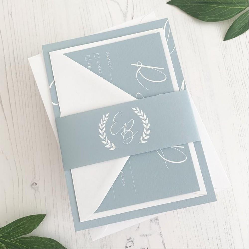 Blue Wedding Invitation Set, Duck Egg