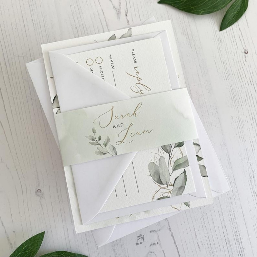 Green Wedding Invitation Set with Bellyband & RSVP