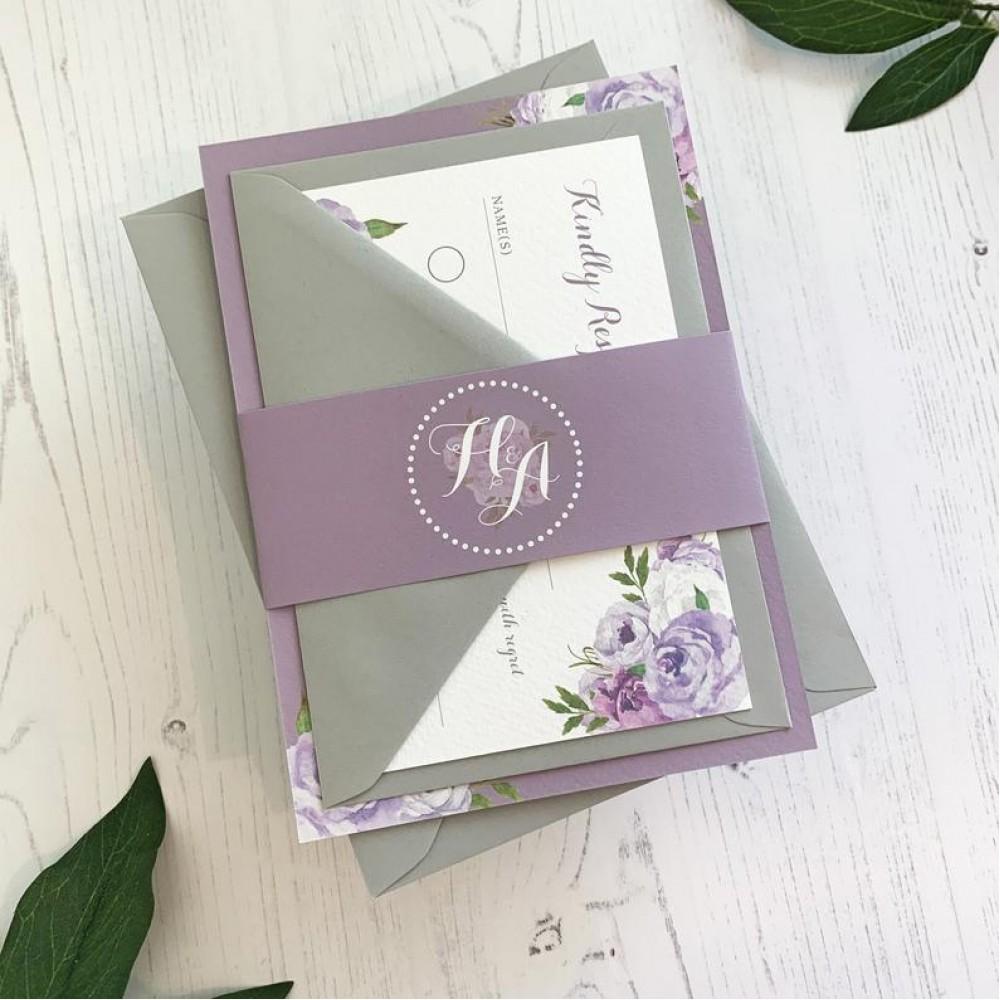 Purple Wedding Invitation Lilac - Floral Wedding Invites