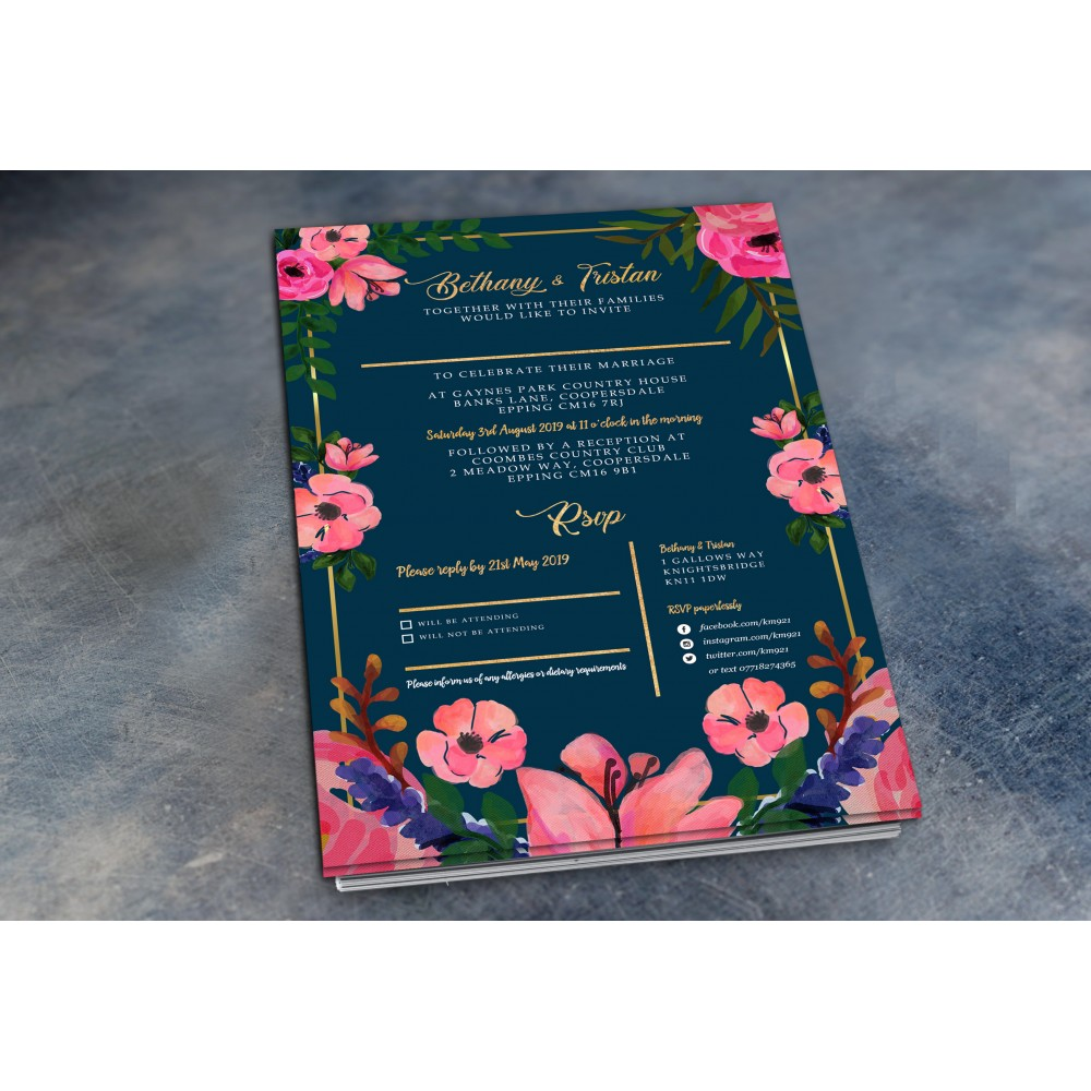 Wedding Daytime / Evening Invitations - Navy Floral