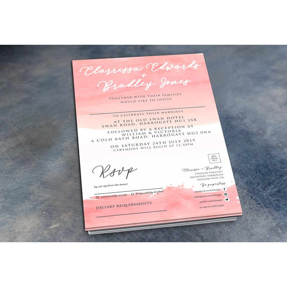 Wedding Daytime / Evening Invitations - Pink Watercolour