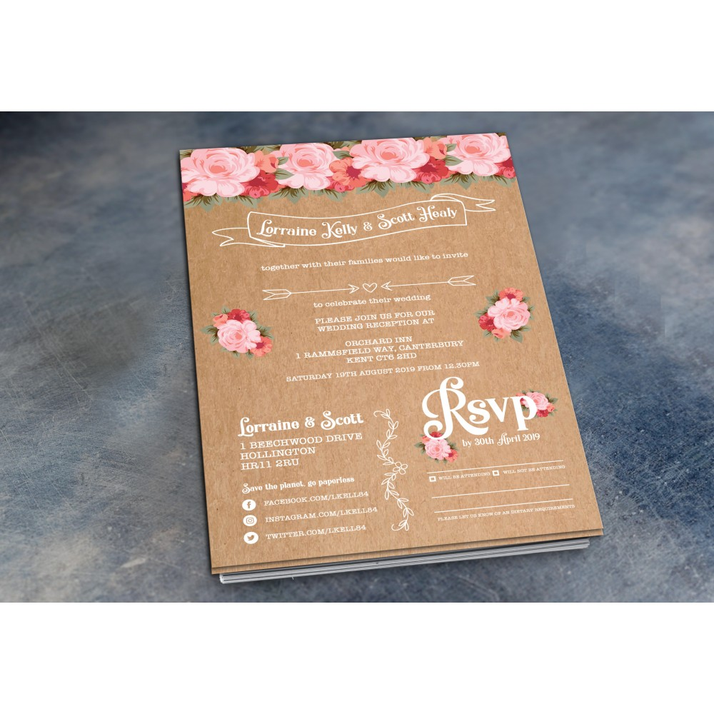 Wedding Daytime / Evening Invitations - Rustic Rose