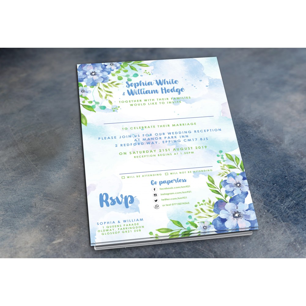 Wedding Daytime / Evening Invitations - Bluebell Watercolour